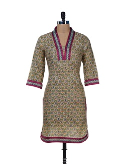 Green Printed Kurta With Lace - Jaipurkurti.com