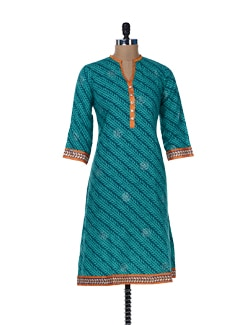 Printed Green Kurta With Gota Lace - Jaipurkurti.com