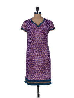 Multi Print Purple Cotton Kurta - jaipurkurti.com