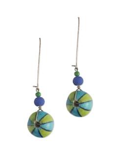 Blue & Green Round Pottery Earrings - Eesha Zaveri; Jewellery By Design