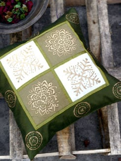 Printed Green Cushion Cover With Zari Work - Ruhaan's