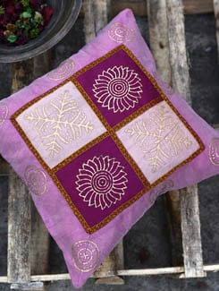 Set Of Two Cushion Covers In Vivacious Pink And Purple - Ruhaan's