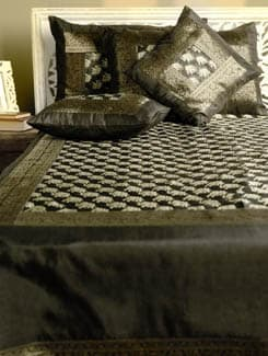Classic Black And Gold Bed Cover With Matching Cushion And Pillow Covers - Ruhaan's