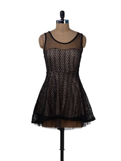 Cute Black And Beige Dress - Sanchey