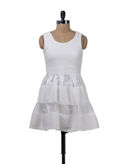 Cute Off White Flared Dress - Sanchey