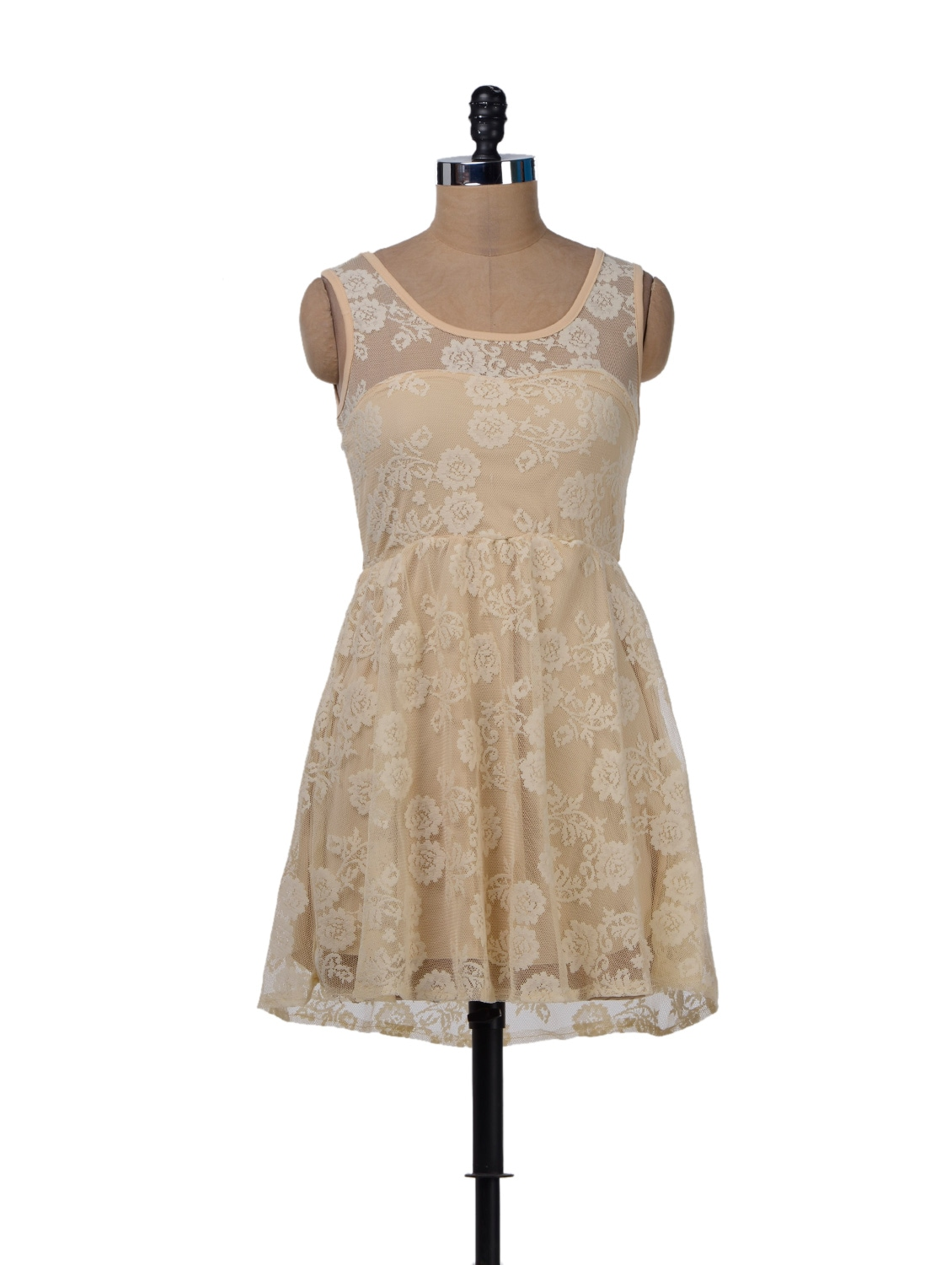 Sophisticated Lace Dress In Beige - Sanchey