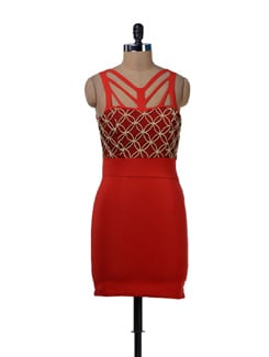 Ravishing Red Party Dress - Sanchey