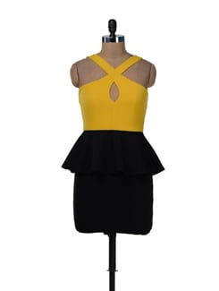 Fitted Peplum Dress In Canary Yellow And Black - Sanchey