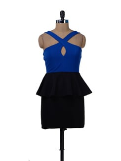 Bold Peplum Dress In Blue And Black - Sanchey