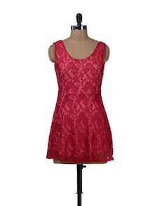 Feminine  Rosey Red Lace Dress - Sanchey