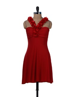 Red Hot Dress With Floral Work Neckline - Sanchey