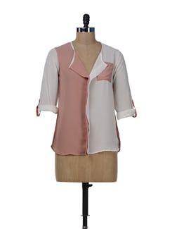 Cream & Dusky Pink Colorblocked Shirt - Miss Chase