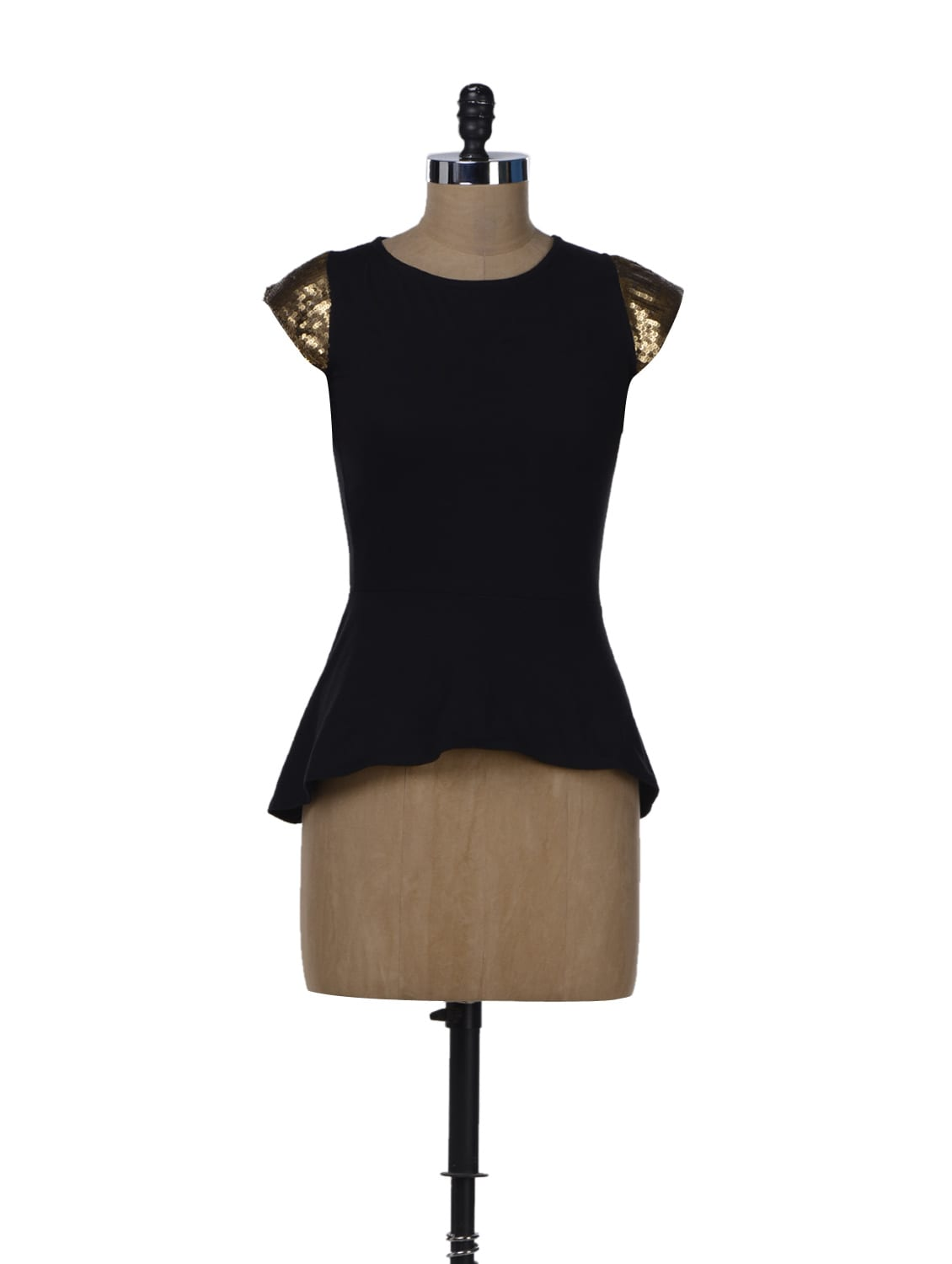 Black Peplum Top With Gold Sleeves - Miss Chase