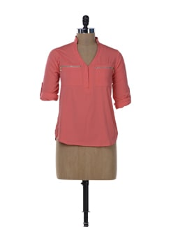 Bright Coral Zip Me Up Shirt - Miss Chase