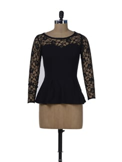 Black Lace Party Peplum Top - Miss Chase