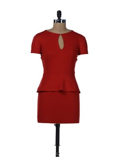 Mermaid Love Red Peplum Dress - Miss Chase