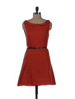 Red Peter Pan Collar Dress - Miss Chase