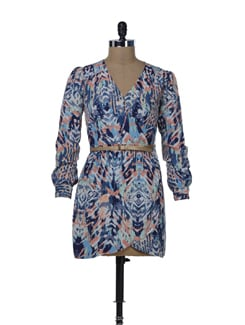 Chic Printed Wrap Around Dress - Miss Chase