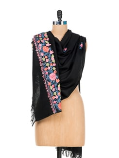 Black Embroidered Shawl - Vayana