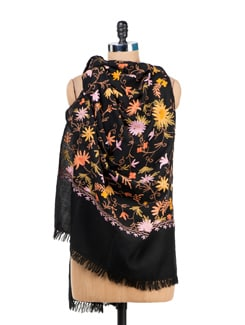 Floral Black Embroidered Shawl - Vayana