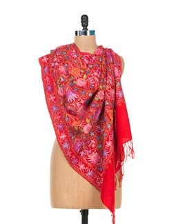 Floral Red Embroidered Shawl - Vayana