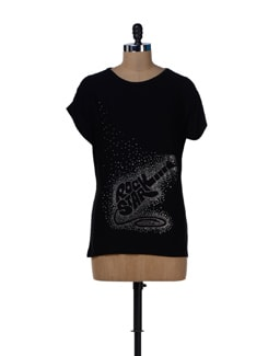 Stylish Black Rockstar Top - MARTINI