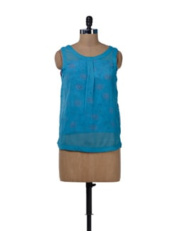 Blue Summer Tube Shirt Top - MARTINI