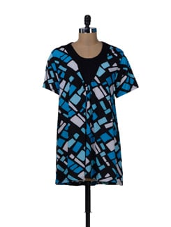 Blue & Black Printed Long Top - MARTINI