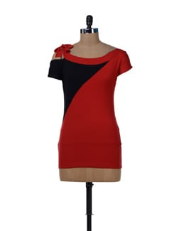 Red & Black Knotted Top - MARTINI