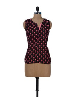 Black & Pink Tree Print Top - MARTINI