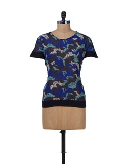 Blue & Grey Printed Panel Top - MARTINI