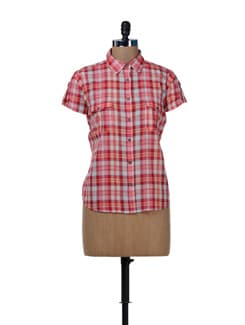 Stylish Red & White Check Shirt - MARTINI