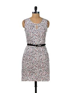 Grey & White Keyhole Heart Dress - MARTINI