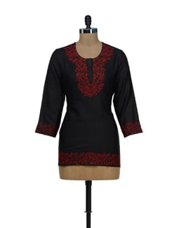 Ethnic Black And Red Kurta - Vedanta