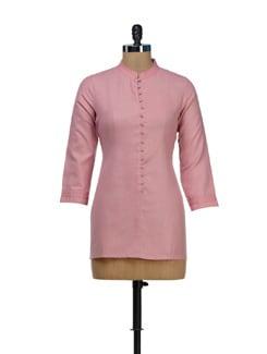 Bandhgala Kurta In Baby Pink - Vedanta