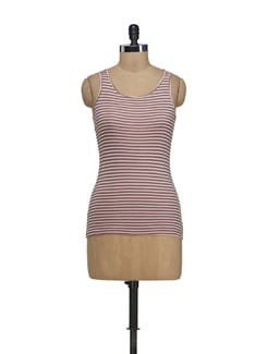 Baby Pink Striped Racer Back Top - Nineteen