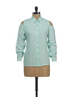 Mint Green Cutout Shirt - Nineteen