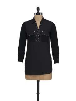 Trendy Black Top With Silver Studs - Nineteen