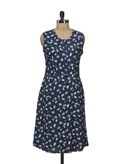 Printed Navy Front Open Dress - Nineteen