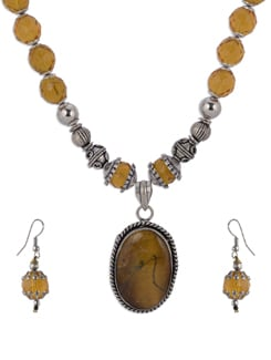 Yellow Gold Beaded Necklace Set - Shilpkritee