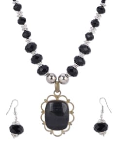 Ethnic Black & Silver Necklace Set - Shilpkritee