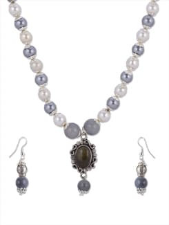 Grey & White Pearl Necklace Set - Shilpkritee