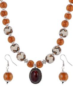 Orange & White Beaded Necklace Set - Shilpkritee