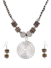 Brown & Silver Wooden Necklace Set - Shilpkritee