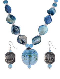 Blue Beaded Necklace Set - Shilpkritee