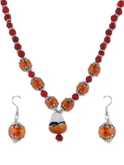Ethnic Orange Necklace Set - Shilpkritee