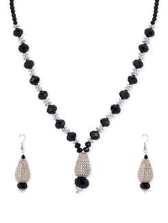Black & Silver Beaded Necklace Set - Shilpkritee