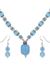 Bright Blue Beaded Necklace Set - Shilpkritee