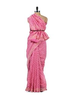 Printed Baby Pink Chanderi - Sakrip