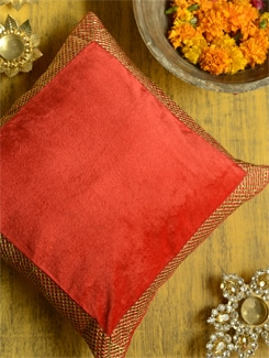 Red Velvet Cushion Cover With Zari Border - Ambbi Collections
